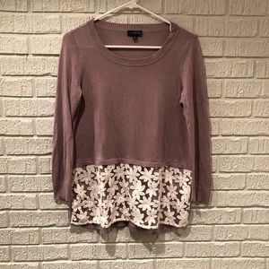 The Limited Lace Embroidered Sweater Dusty Purple